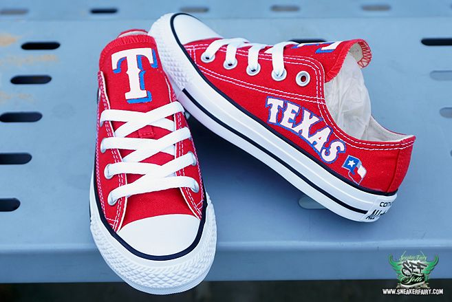 sneaker fairy fetti dbiasi custom sneakers shoes converse chucks chuck taylor texas rangers baseball mlb nolan ryan homerun world series