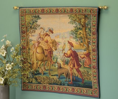 antique tapestry wall hanging notice the beautiful brass on wall hanger id=14506