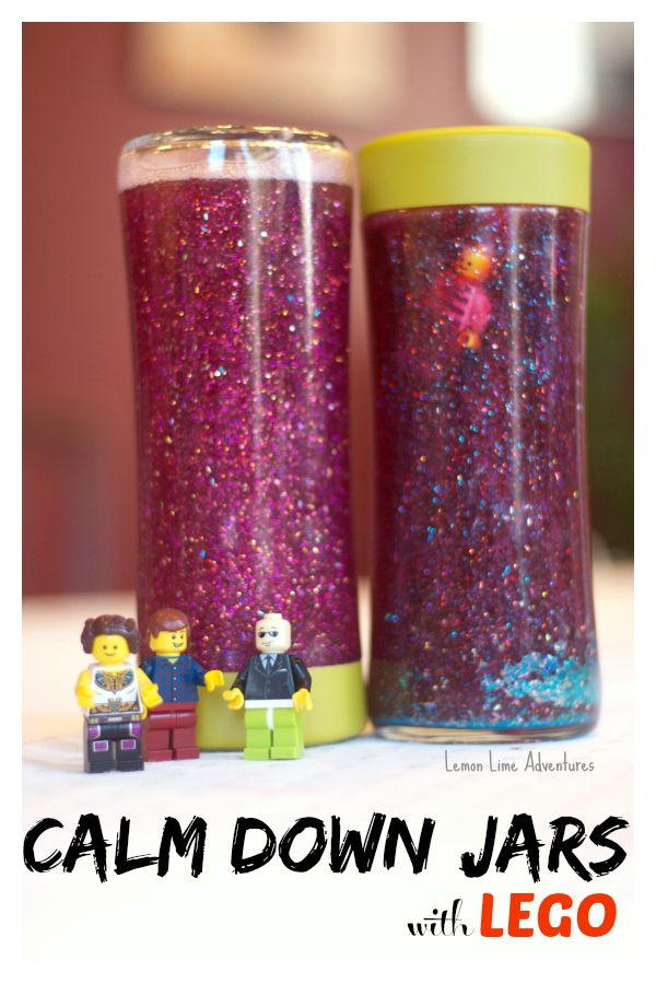 Lego Calm Down Jar...2 ingredients. Shake...watch the glitter settle and the minifigure rise! GREAT for any child in your class that gets overstimulated, anxious, upset or needs help calming. So easy to make