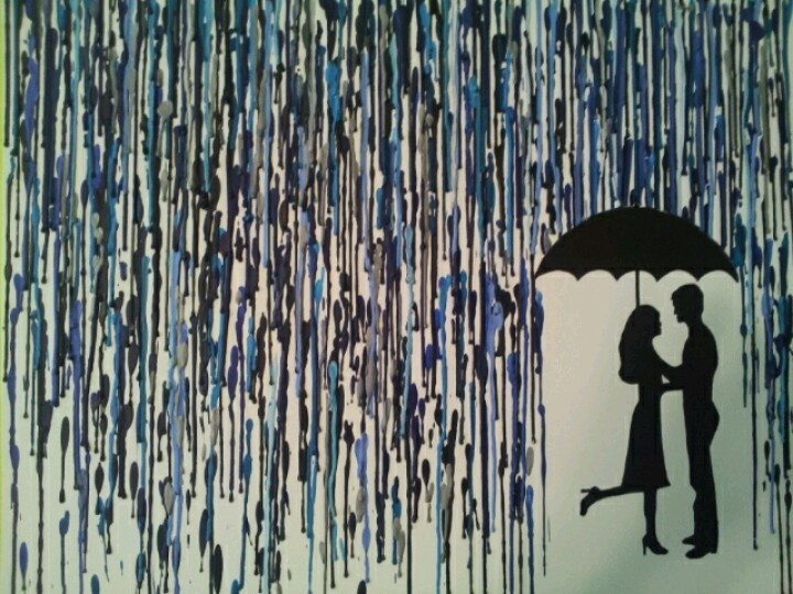 Crayon art silhouette of a couple in the rain | Pinning ...