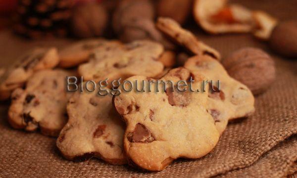 Печенье с шоколадом, изюмом и орехами