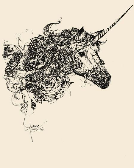 Unicorn Line Drawing.