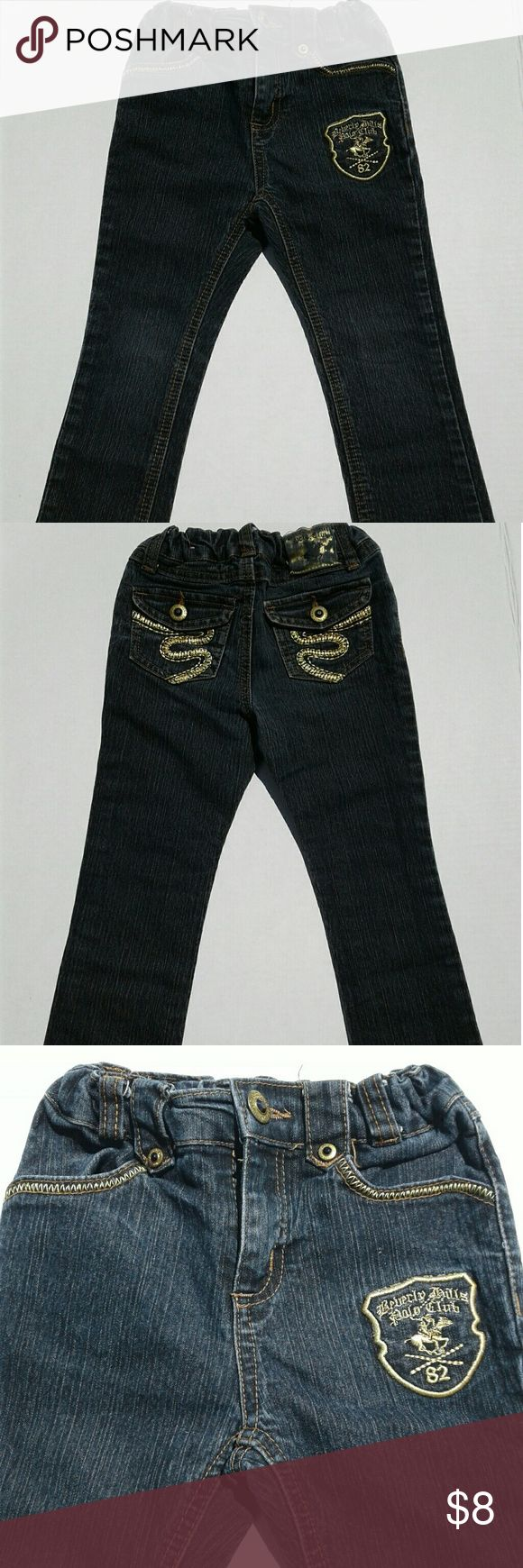 """Beverly Hills Polo Club Toddler Jeans 4T Here's a pair of toddler straight leg jeans from Beverly Hills Polo Club that are in good condition with gentle wear.  Features include adjustable elastic waist,  belt loops,  embroidered pockets.  Stated size is 4T. Measurements are  8""""/10"""" elastic waist,  7"""" rise,  16"""" inseam,  23"""" outseam,  4.5"""" cuffs.  All measurements are taken with the garment laying flat.  All garments have been washed and steamed and sealed in a bag. May be some wrinkling due…"""