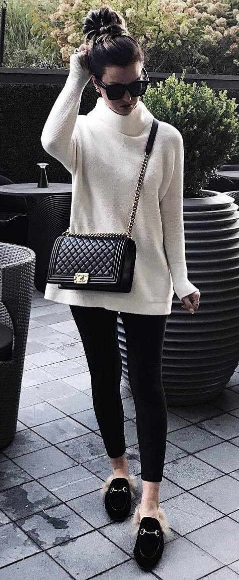 white and black fall trends // sweater + bag + skinnies + loafers. skull, biker, motorcycle, men, women, fashion, accessory, jewelry.