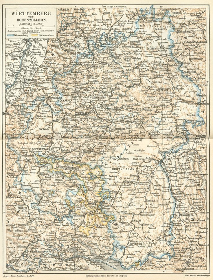 1888 map of Wurttemberg, Germany. My genealogical research into my Austrian-Germanic last name has led me here. Found on Wikipedia.