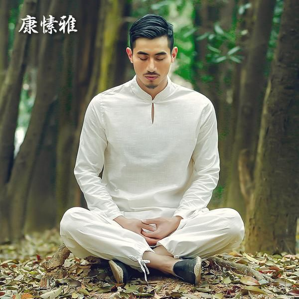 FREE SHIPPING,  Man cotton and linen yoga clothes New health zen tai chi clothing man martial arts performance clothing S1637