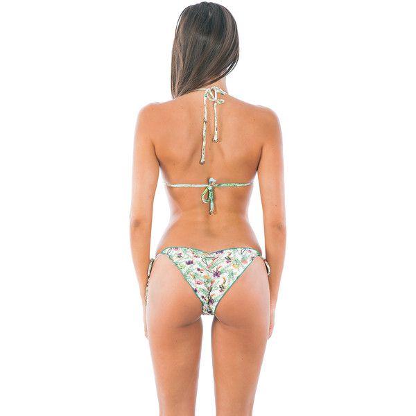 La Playa Blue And White Floral Print Triangle Bikini Top And Scrunch... (610 SEK) ❤ liked on Polyvore featuring swimwear, bikinis, bikini bottoms, white, triangle bikini, tankini top, triangle bikini top, swimsuits tops and white bikini swimwear