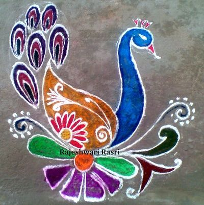 Ganesh Rangoli Diwali Designs Patterns Flower Simple Peacocks Doodles