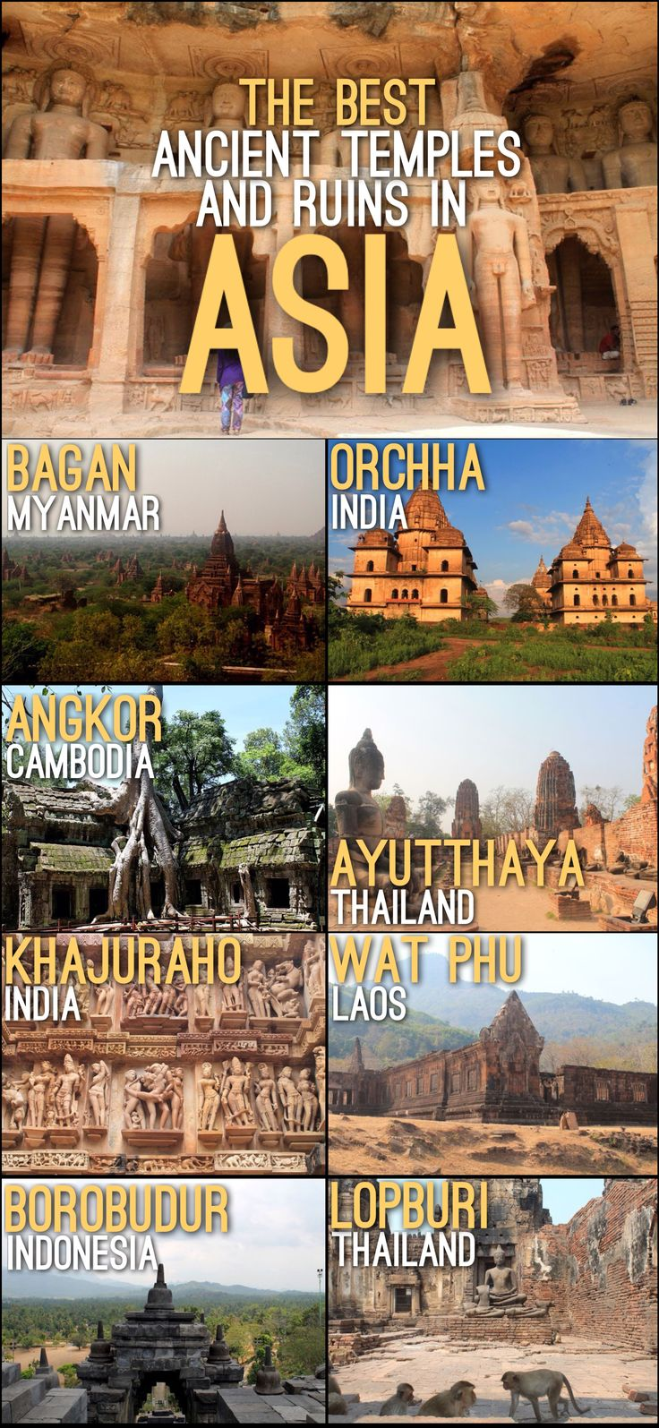 Some of the best ancient temples and ruins in Asia, including Angkor Wat, Ayutthaya, Bagan and Borobudur.
