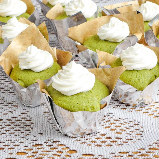 Matcha green tea cupcakes with buttery honey buttercream