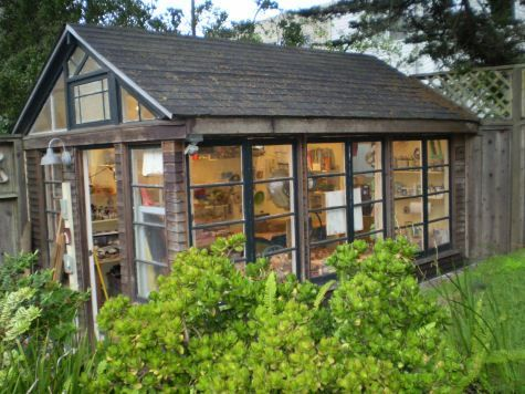 Cabin, shed, old windows - old chicken coop converted to studio
