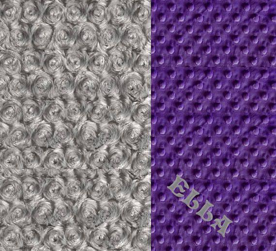 Minky Baby Blanket Personalized Silver Gray Rose Swirl &