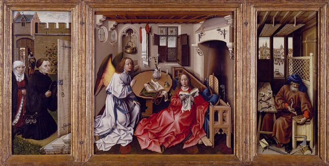 Annunciation Triptych (Merode Altarpiece), ca. 1427–1432. Workshop of Robert Campin (South Netherlandish, active by 1406, died 1444).