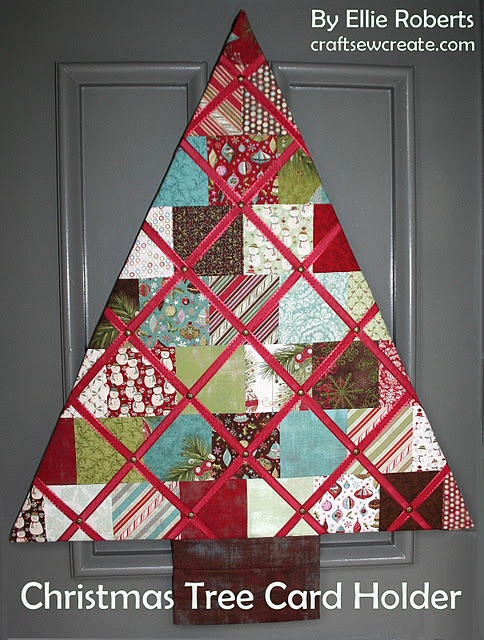 Quilted christmas tree card holder/memory board. Someone want to make this for me?