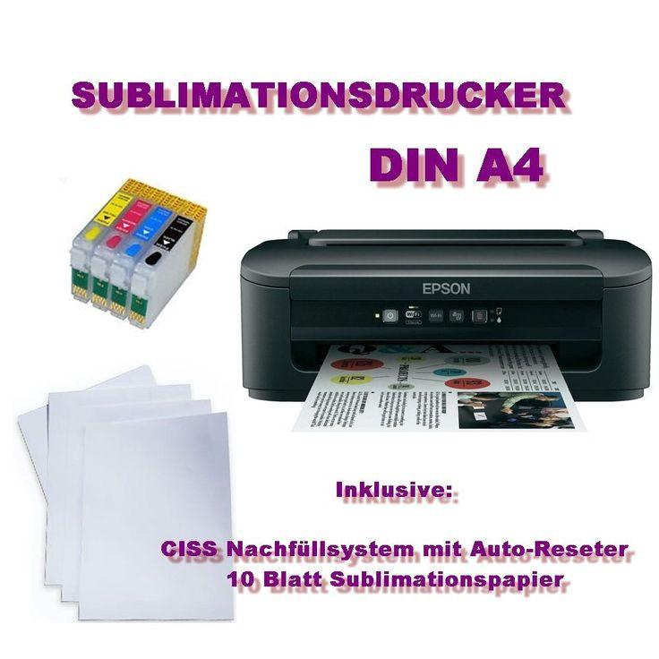 NUEVO - Impresora de sublimación - Impresora de sublimación DIN A4 CISS 200 ml de tinta Camiseta de impresora Camiseta Impresora: Amazon.es: Coche y moto