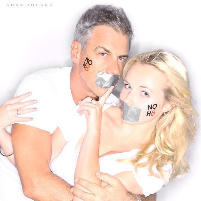 NOH8 Campaign - Peter Mochrie & Kimberley Crossman - Actors (Shortland Street)   - See more: http://www.noh8campaign.com/photo-gallery/familiar-faces-part-7/photo