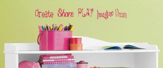 Wall art - Kids Wall Decal - Childrens Playroom Wall Decals - Create Share Play Imagine Dream - Nursury wall quote - Playroom decor & 16 best Kids playroom wall decal images on Pinterest | Kid playroom ...