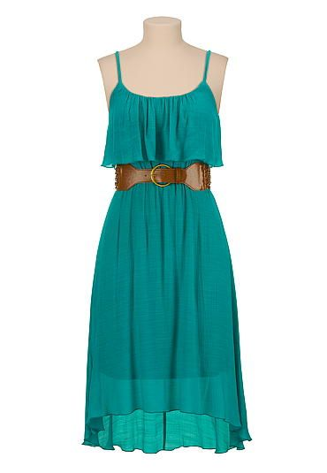 I also tried this one on, it's really awesome too. The length is below the knee. It flows really nice. The material is nice, kind of textured, gives it a country feel. It doesn't come in a dark blue, just the teal and green. It's also 30% off, which make it $27.30
