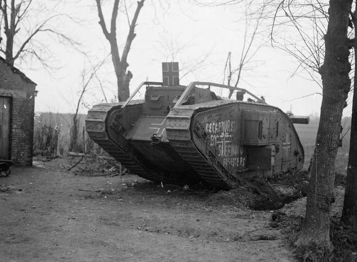 leyland british tanks - British Mark IV Tank captured and used by the Germans and recaptured by the Sherwood Foresters, in the Battle of St. Quentin Canal, 29 September 1918.