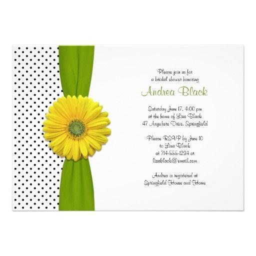 Yellow Gerbera Daisy Polka Dot Bridal Shower Custom Invitation