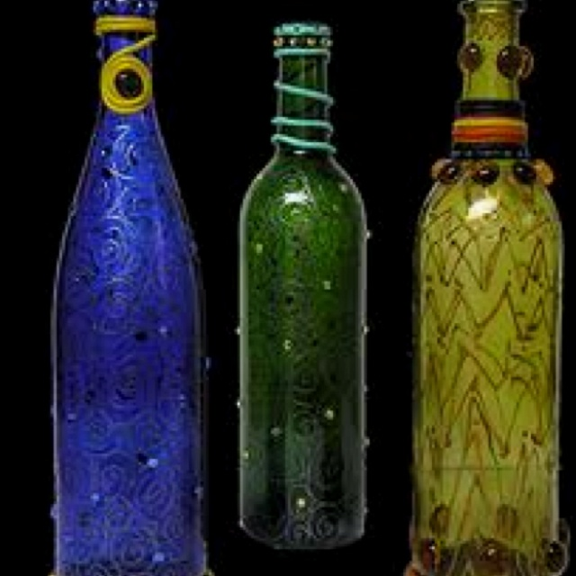 Ideas for empty wine bottles!  Painting for my kitchen!