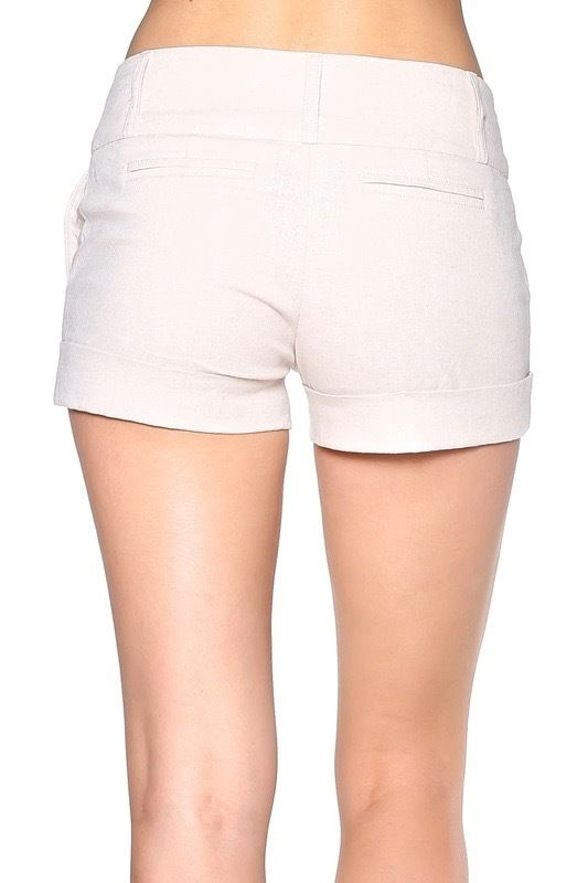 Use these beige shorts to create a cute, casual fashion ensemble that will keep you cool even when the summer temperatures start to soar.