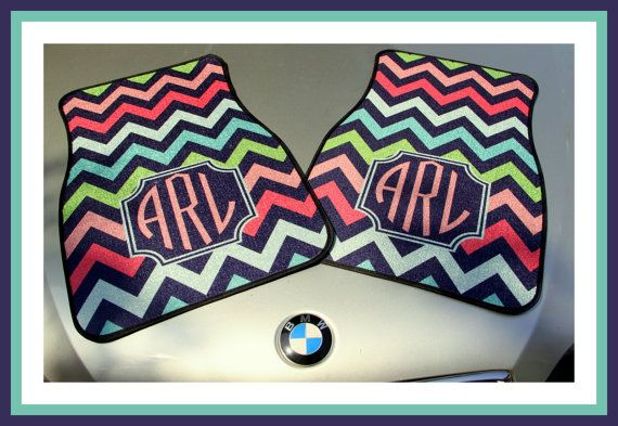 Personalized Car Mats MultiColor Monogrammed Car by ChicMonogram, $75.00