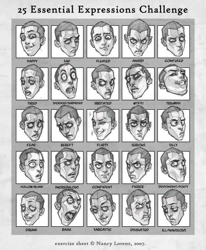 Character Design Page : Essential expressions oren character design page