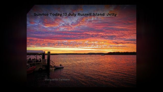 The gold of sunrise fills the sky and is spectacular. Photos of the sunrise from the Russell Island Jetty with photos from Marguerite Carstairs http://sunrisetoday.wordpress.com