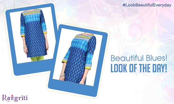Beat the blues with this vibrant blue color kurta! Make it yours NOW! bit.ly/1CkoJhL