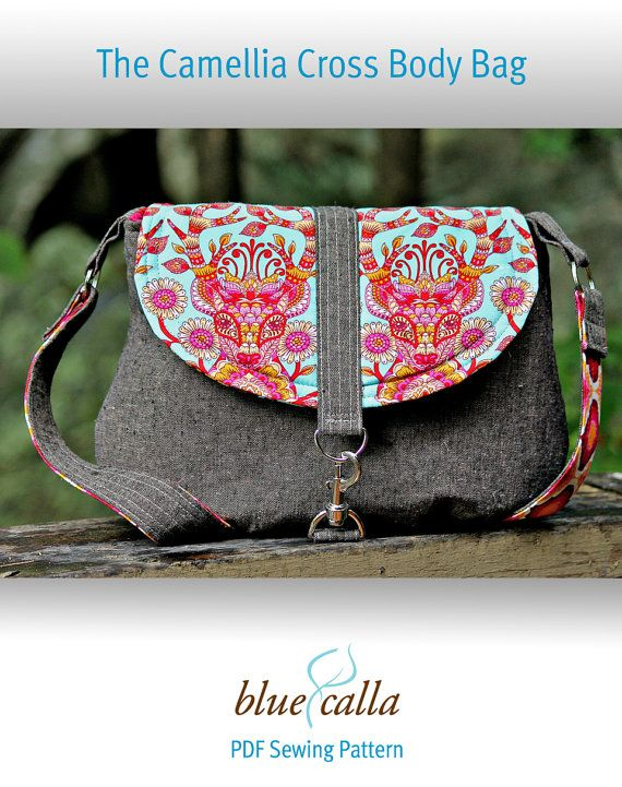 The Camellia Cross Body Bag  PDF SEWING by BlueCallaPatterns