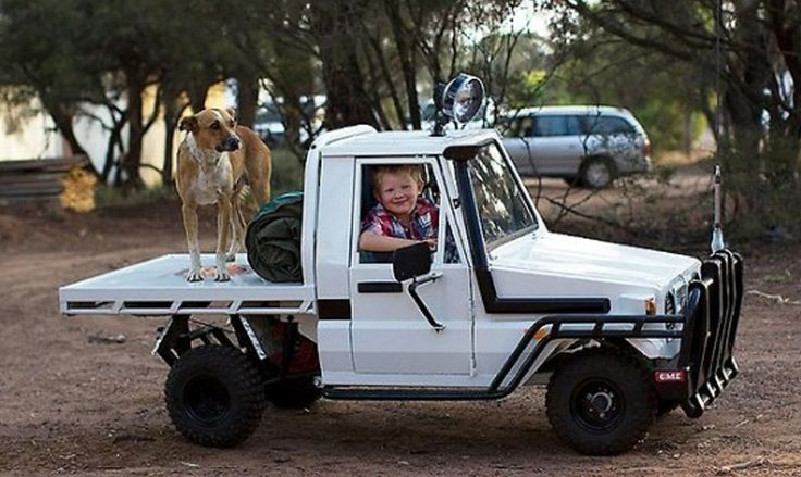 Awesome dad builds a toy Toyota Landcruiser 70 pickup for his son.