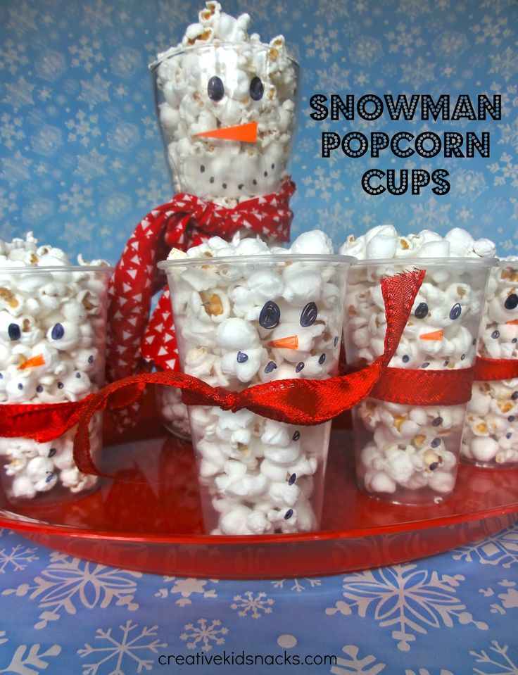 Creative Kid Snacks: Snowman Popcorn Cups. DIY Christmas treat. Serve at party or in class for students. Easy to serve festive snack.