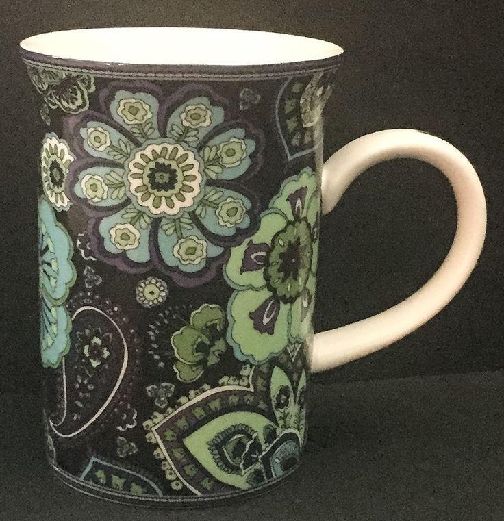 Vera Bradley Rhapsody Blue Coffee Mug Cup Paisley Floral Barnes And Noble NO LID #VeraBradley