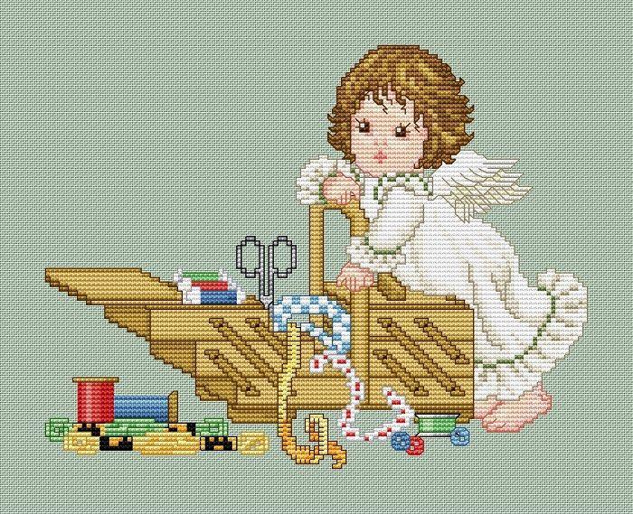 "Сачать схему вышивки ""Stitching Angel with Workbox"""