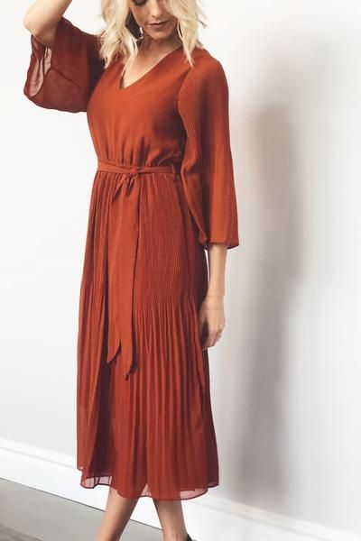7566731171893 Lana Pleated Dress in Brick in 2019 | my wedding | Dresses, Fashion ...