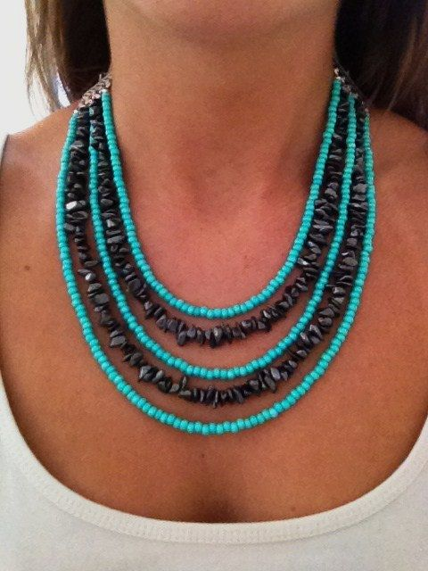 Mint Green & Black Metallic 5 Strand. Gorgeous handmade statement necklace for sale online!    http://www.etsy.com/shop/LBVJewelry