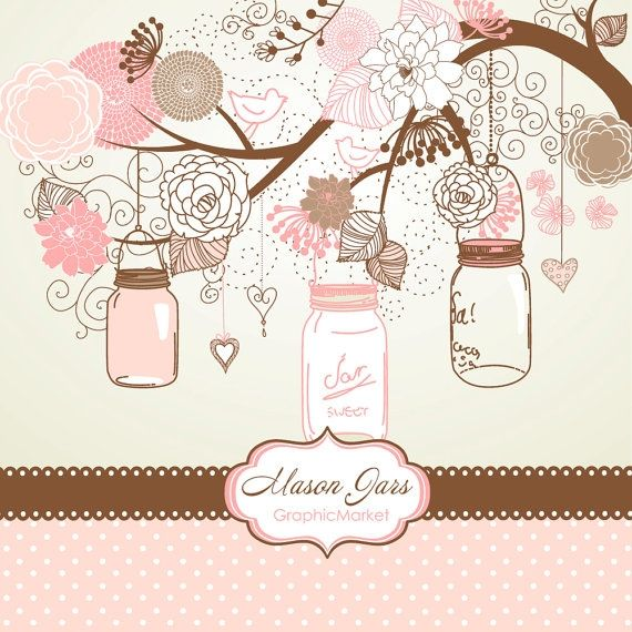 I Designed A Vintage Looking Border Art For You To Use In: Mason Jars & Flowers #masonjar #clipart #vector