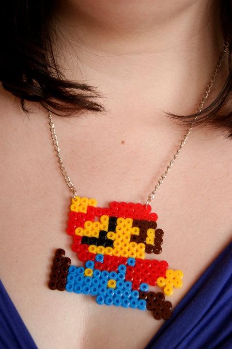 Mario in Perler Beads Necklace