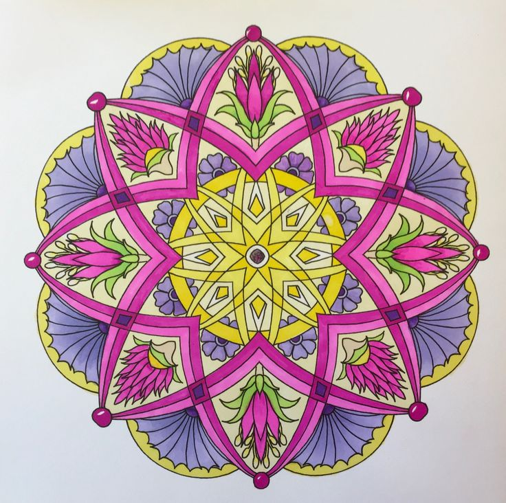"A mandala from Cynthia Emerlye's ""Flower Mandalas to Color for Calm"" (2015). Colored by B. Holmes using Prismacolor Premier Dual Tip Brush Markers, 7-2017. #mandala #emerlye #cynthiaemerlye #adultcoloring"