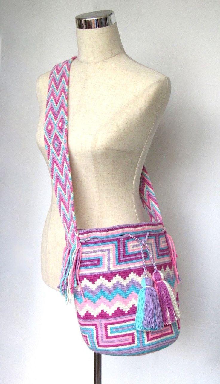 Wayuu mochila cross body bag, hand crocheted bucket bag size large
