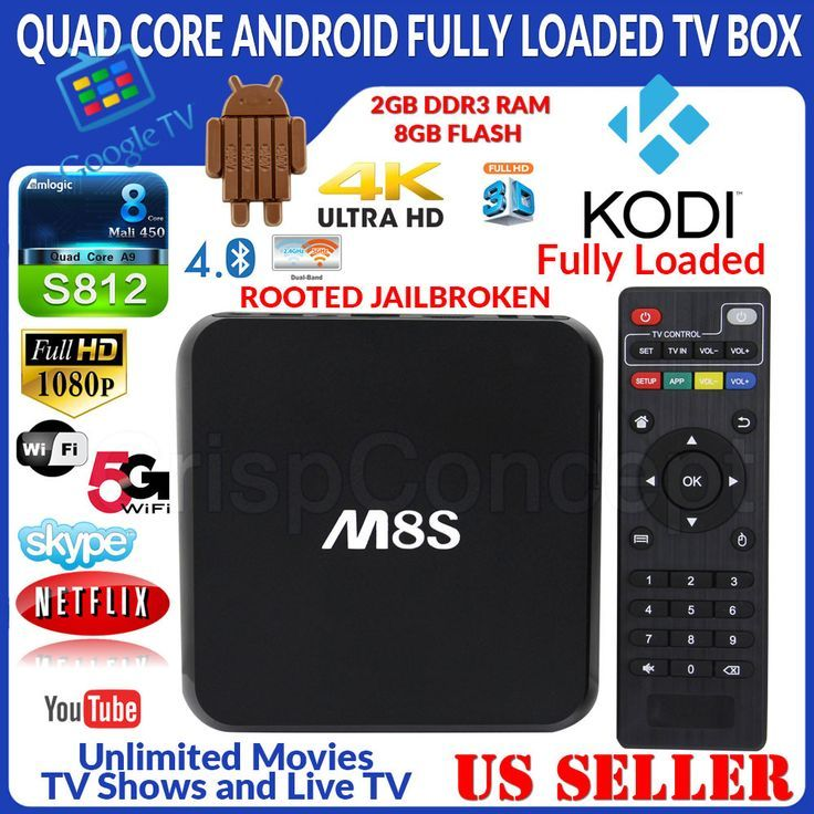 Cool MBOX M8S Quad Core Jailbroken Android Fully Loaded XBMC TV Box 8GB Wi Fi