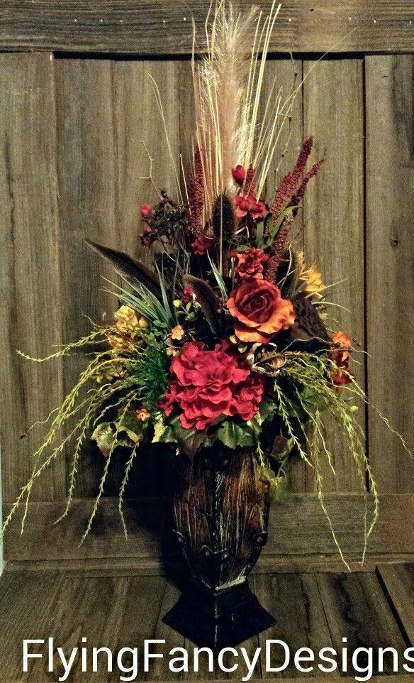 Rustic Western Ranch Tuscan Silk Feather Floral Flower Arrangement Centerpiece in Home & Garden | eBay
