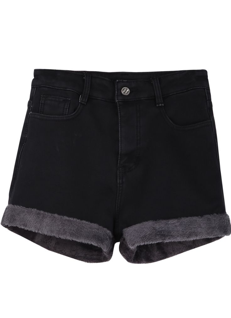 Shorts en jean à découpe -Noir  EUR€17.78