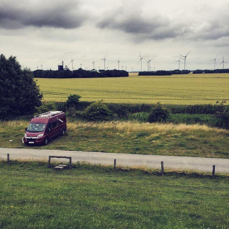 Goodbye Germany.  We found this beautiful spot on the northern coast of Germany the analogue way: via Maps.  #Vanlife #campervan #grizzlybjørn #north #goodspot #vanlifediaries #carsofinstagram #windpark #landscape #fieldsofgreen #sheeps #nordfriesland #wattmeer #nordsee #roadtrip #nextstop #denmark