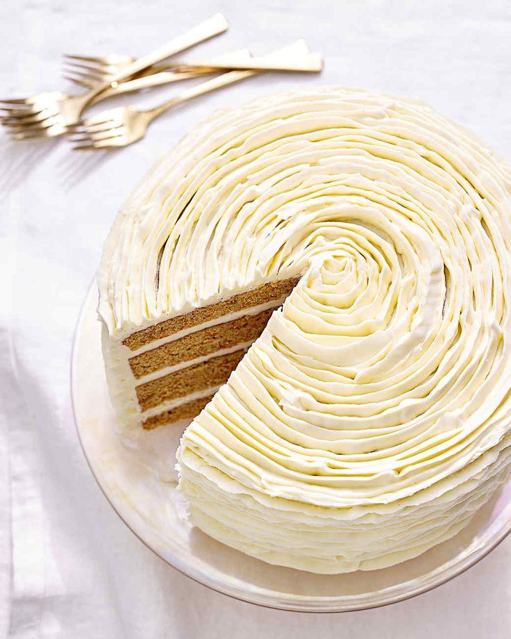 carrot cake with white-chocolate frosting - Try this delicious recipe with our Organic Hard White Flour.  http://bluebirdgrainfarms.com/product/organic-hard-white-flour/ #bluebirdgrainfarms #organicflour