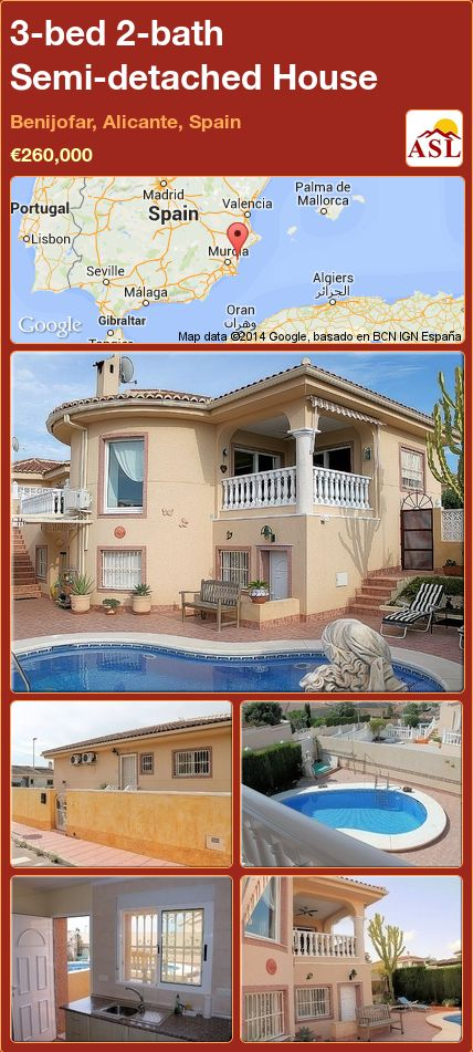 3-bed 2-bath Semi-detached House in Benijofar, Alicante, Spain ►€260,000 #PropertyForSaleInSpain