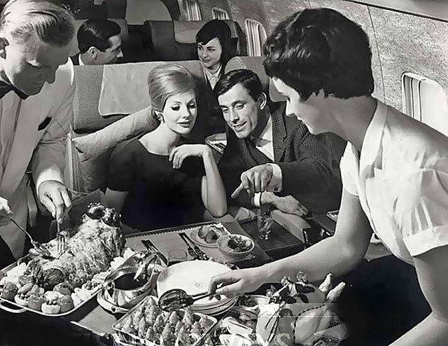 A five star spread for 1960s guests of British Airways. #food #1960s #sixties #retro #vintage #airline #travel #plane #hostess #stewardess #flight #attendant