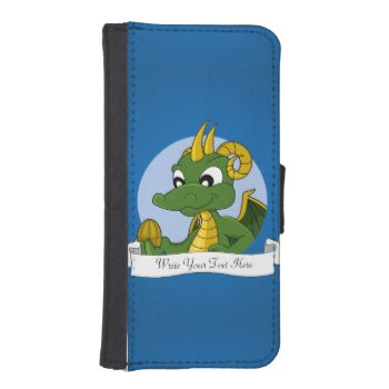 Personalized iPhone 5/5s Wallet Case with illustration of head of a cute little green dragon in blue circle on blue background, cute fantasy / fairy-tale design for kids by Maxi Harmony, with customizable text template for your name or message