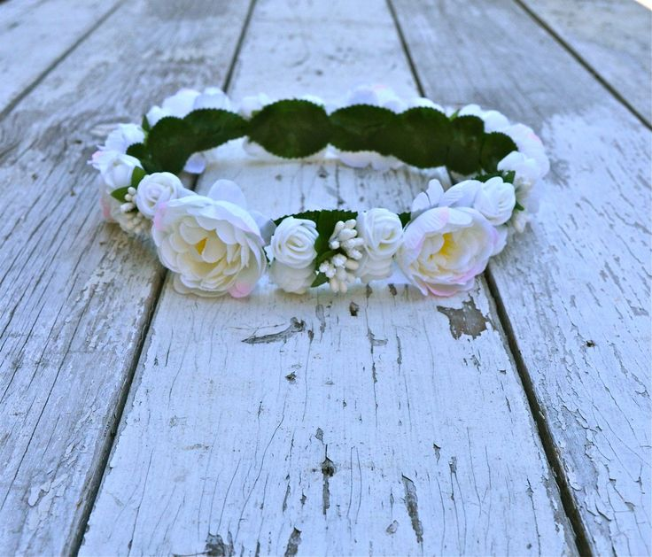 White Ivory Floral Crown, White Flower Headband, Flower Crown, Wedding Headpiece, Bridesmaid headpiece, flower girl headband - maidenlaneboutique